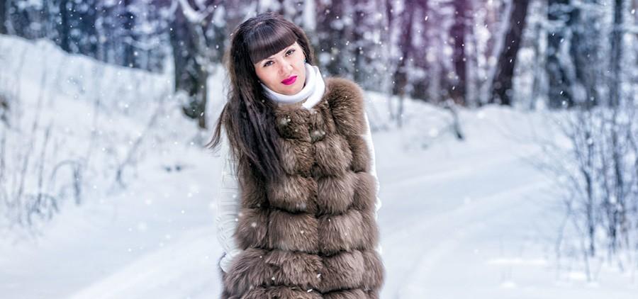 Меховой жилет зимой