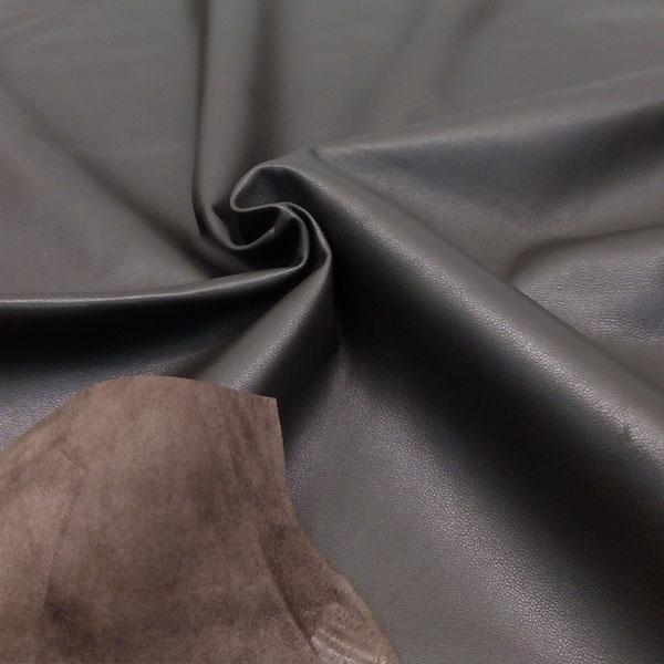 Темно-серая одежная кожа для пошива